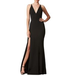 Dress the Population Iris Crepe Slit Evening Gown